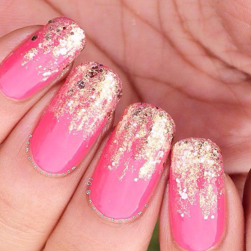 Hot Pink Galaxy Nail Products: This Nail Art Uses A Sparkling Gold Dust On Pink Nail