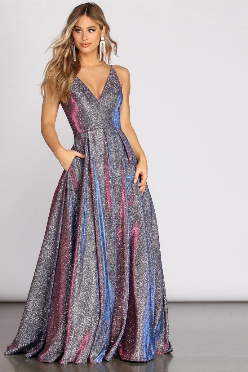 Cora glitter ball gown in 2020 neon prom dresses cute