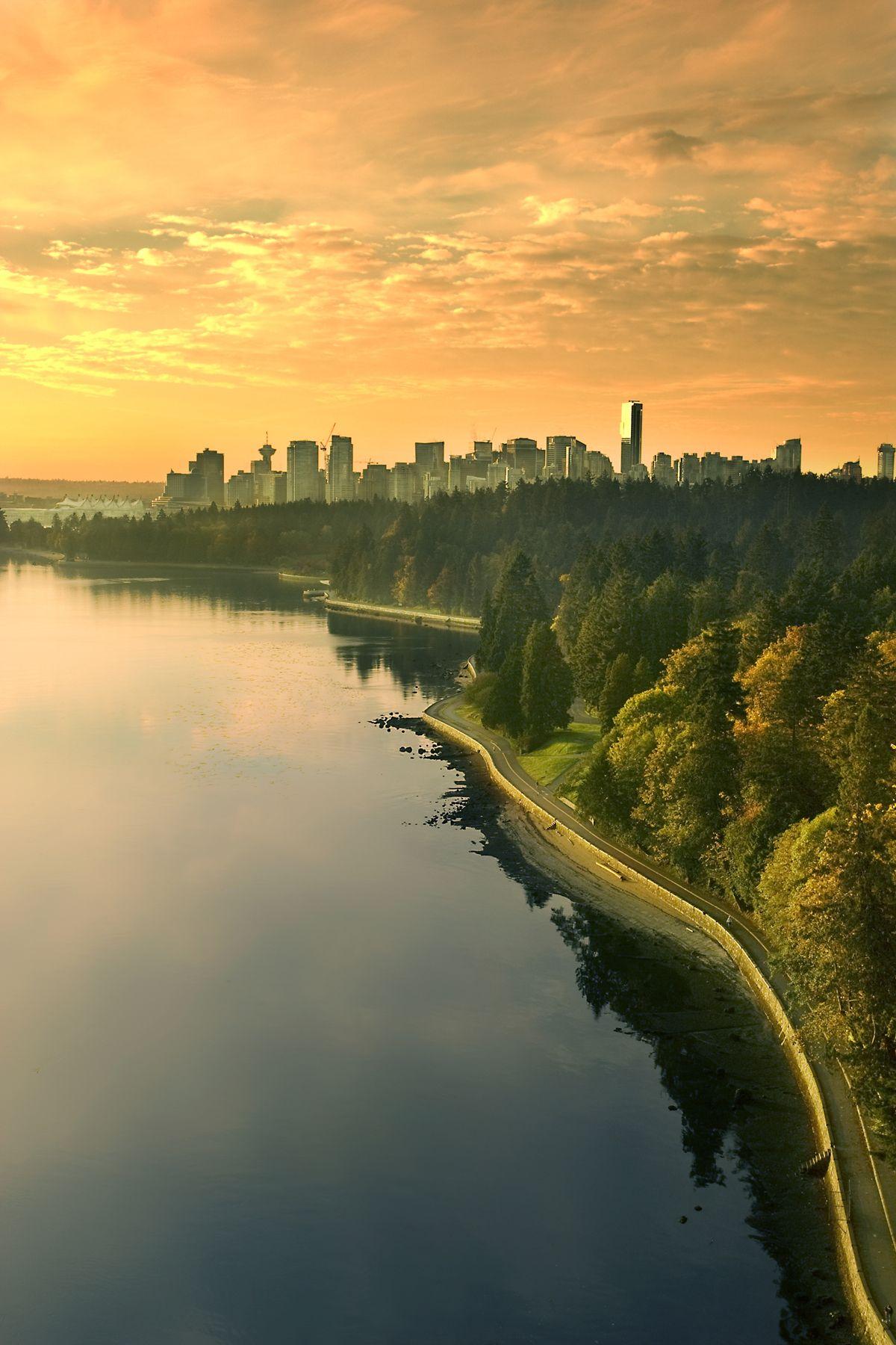 Vancouver bc, canada, Skyline Panorama Long Exposure Black