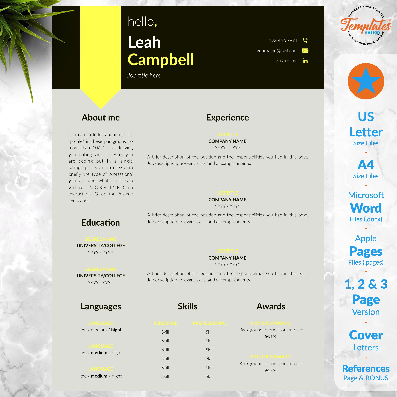 Instant Download Resume Template Word / Curriculum Vitae