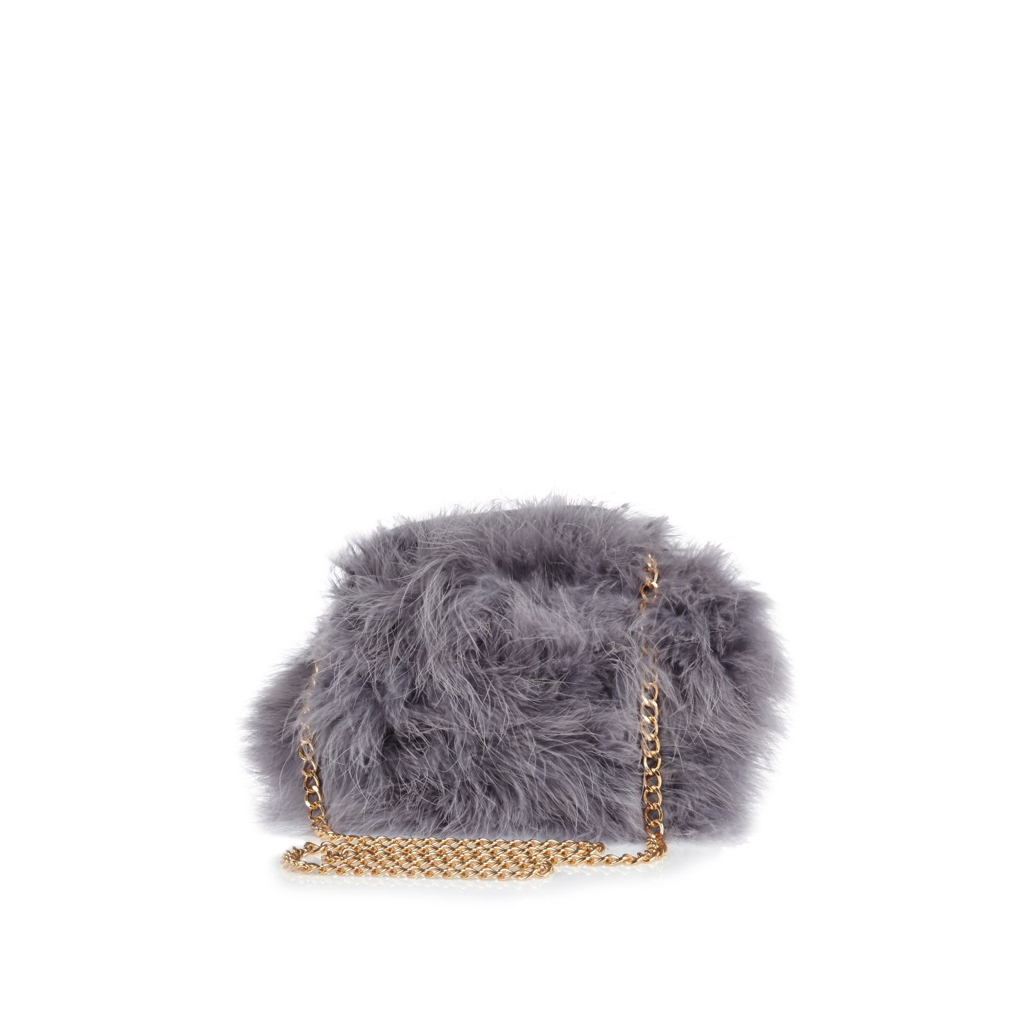 6bba8d504 Grey fluffy cross body bag - cross body bags - bags / purses - women ...