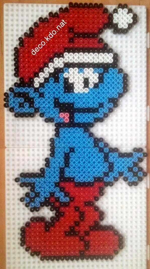Deco kdo nat perles hama schtroumpf et schtroumpfette no l pixel art b gelperlen - Image de stroumphette ...