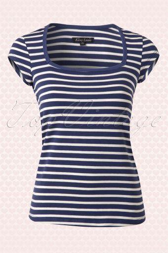 King Louie Navy Blue Striped Sailor Top 110 39 13870 20150213 0001W