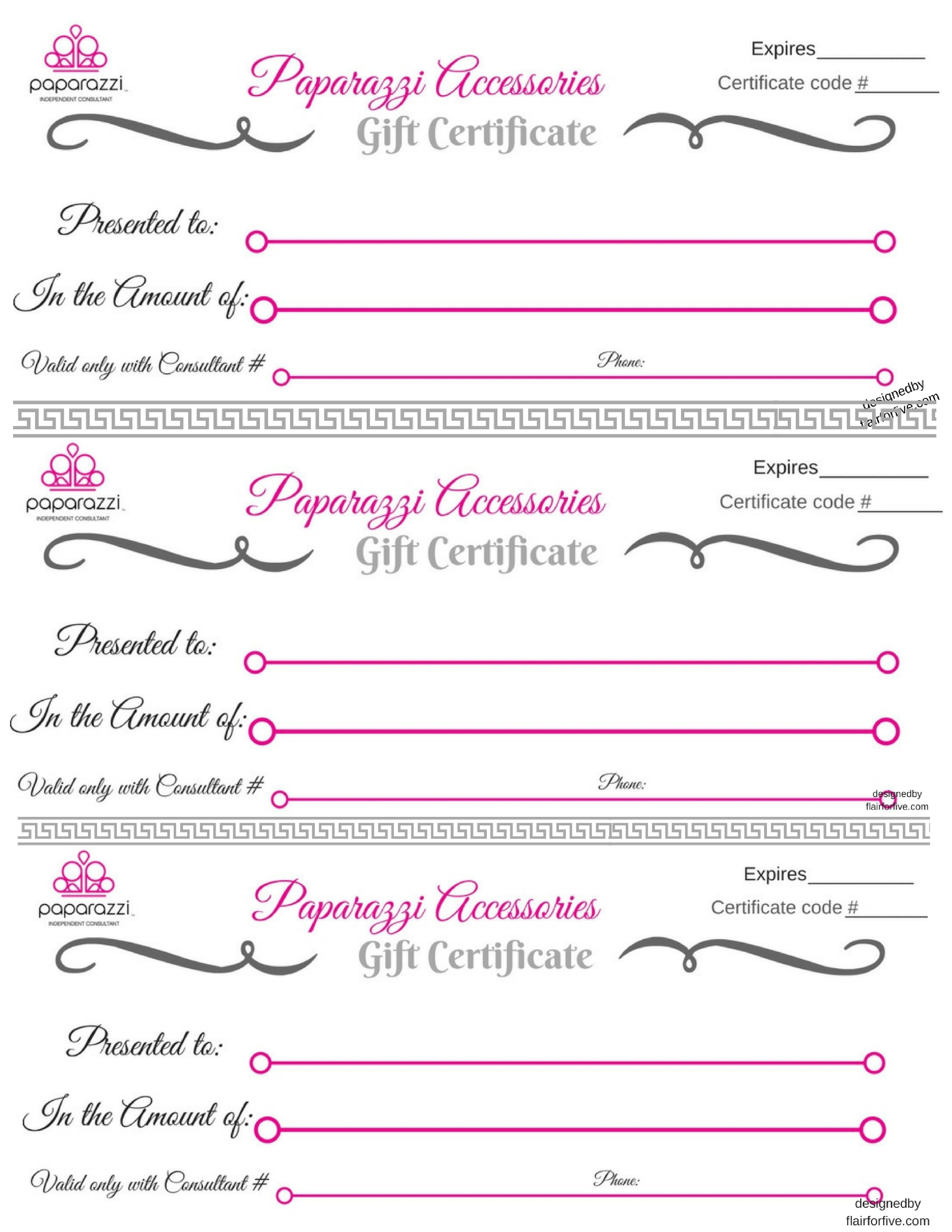 photo about Printable Gift Certificate Template identify Paparazzi Present Certification Food items Paparazzi jewellery