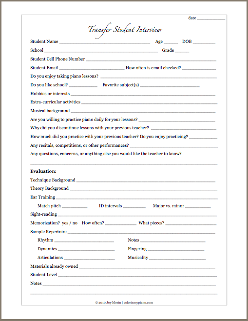Printables Updated Student Info Form And Student Interview Forms