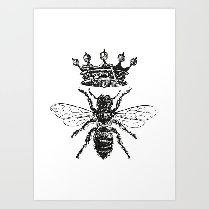 Queen Bee Vintage Bee With Crown Black And White Art Print By Eclecticatheart Society6 Queen Bees Art Queen Bee Tattoo Bee Art