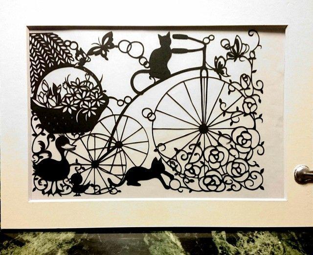 切り絵 自転車とねこ Una bicicletta e gatti 原画