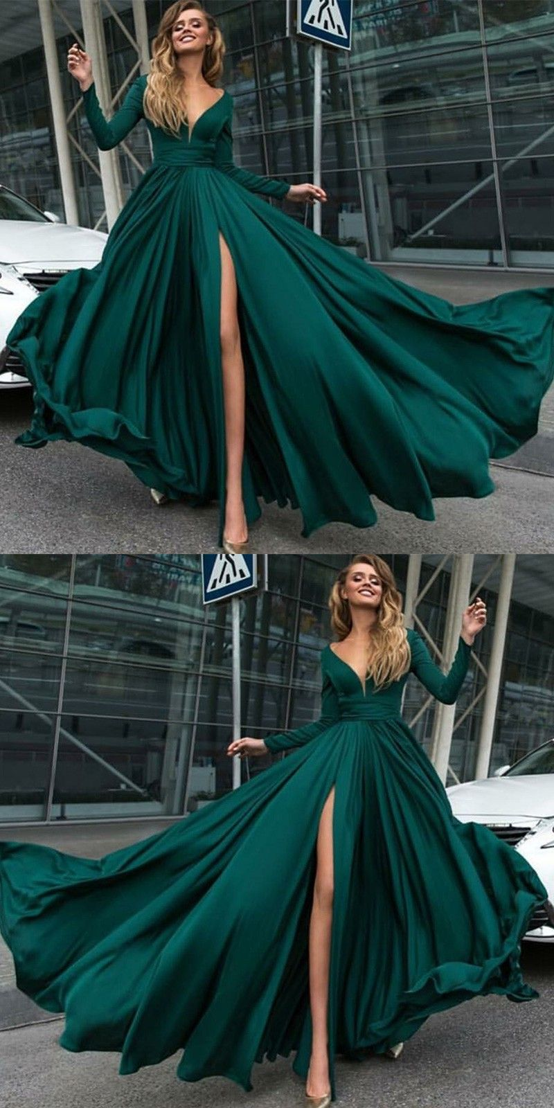 Aline deep vneck long sleeves dark green prom dress with split