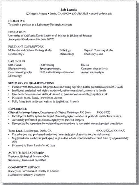 Internship And Career Center Uc Davis Health And Biological Sciences Sample Resumes Resume Education Resume Biology