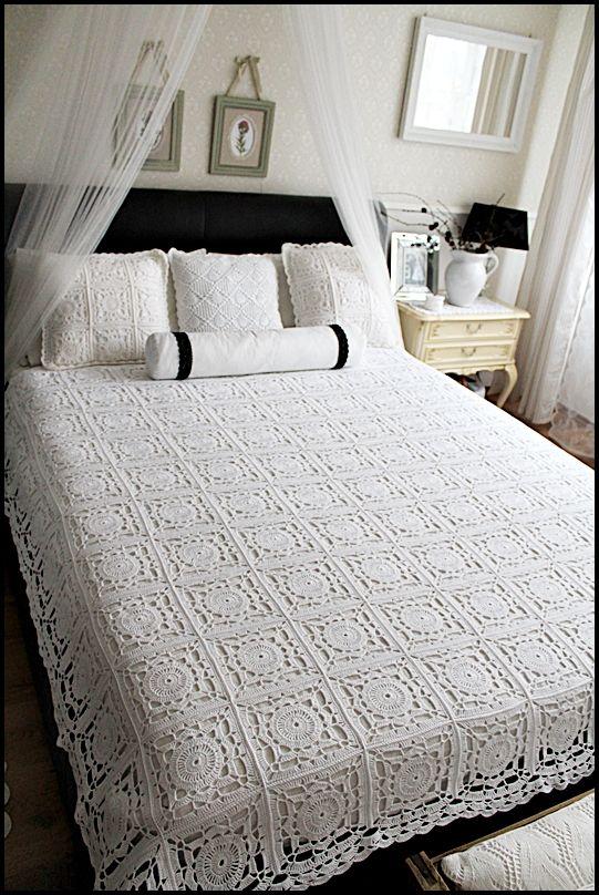 crochet bed throw   Colchas perlé lisas   Pinterest