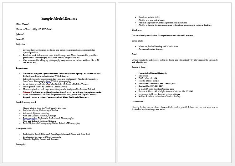 Modeling Resume Sample Free - Modeling Resume Sample Free we - references resume format