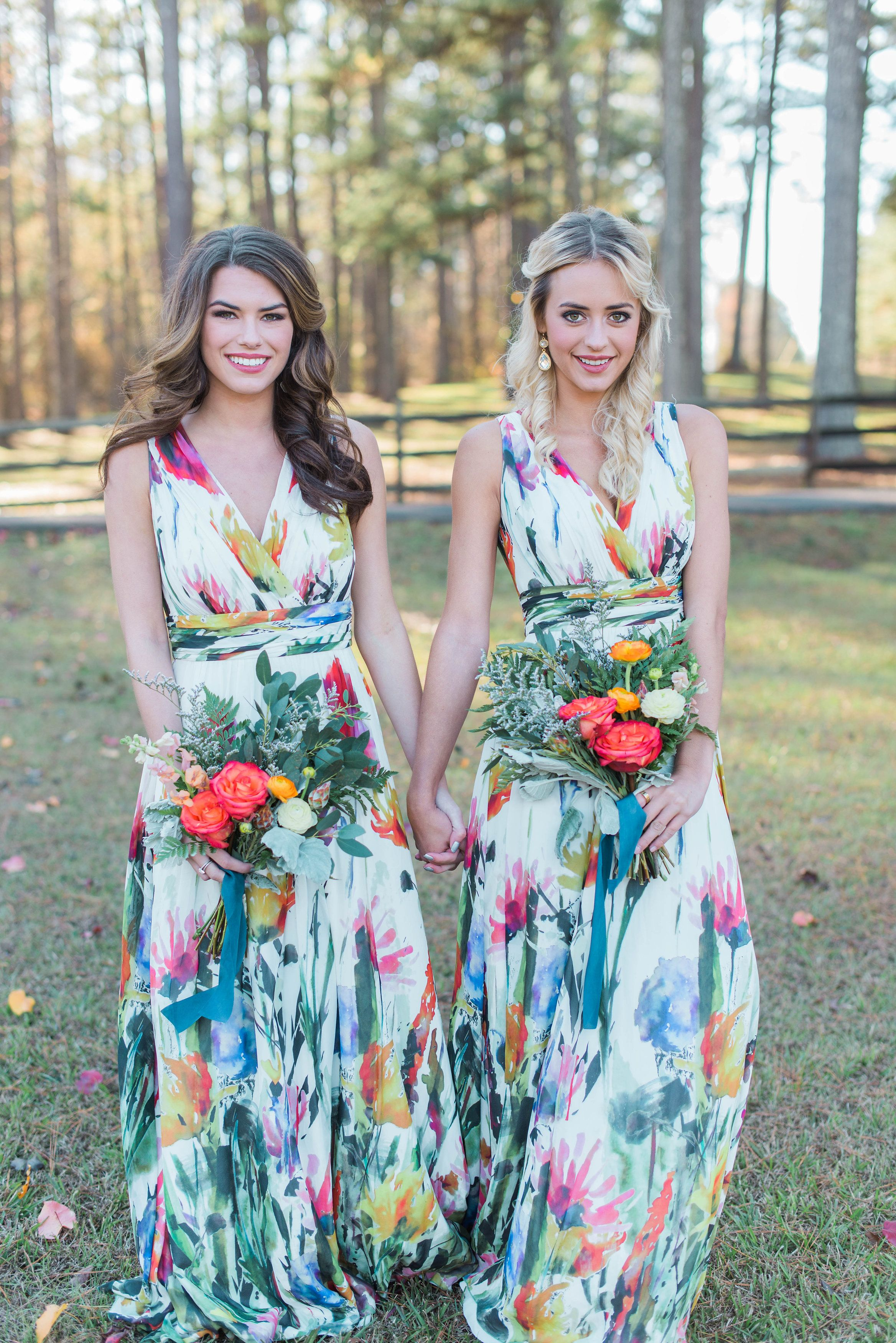 3a02f165 Colorful bridesmaid floor length floral dresses and bright bouquets