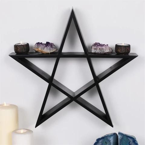 Black Pentagram Wall Shelf VibZin UK Art shelves