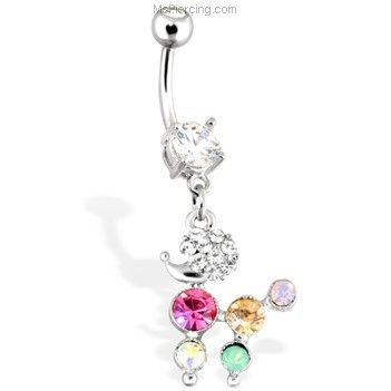 MsPiercing Ring Of Gems Belly Button Jewelry