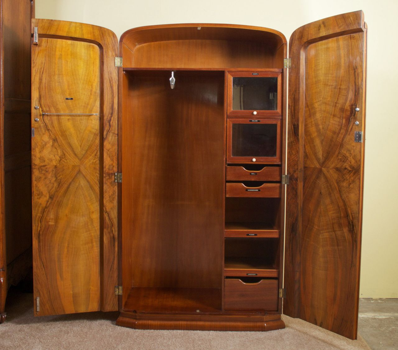 Best Art Deco Burl Walnut French Wardrobe Armoire Image 7 640 x 480