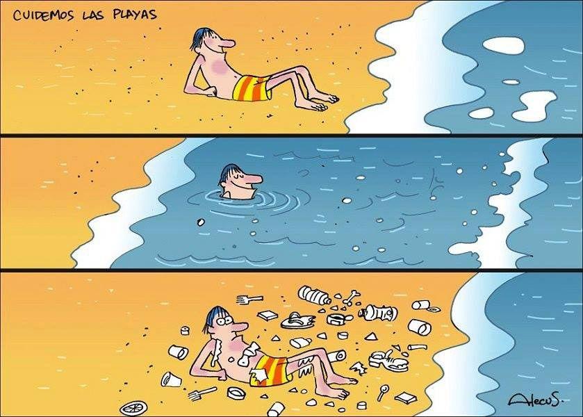 Si no gestionamos bien nuestra basura, vuelve a nosotros: Chiste de una playa con basura.