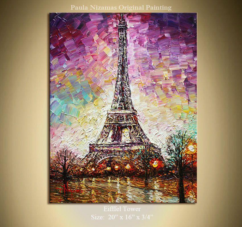 ORIGINAL Signed Palette Knife Oil Abstract Landscape ... Eiffel Tower Painting Landscape