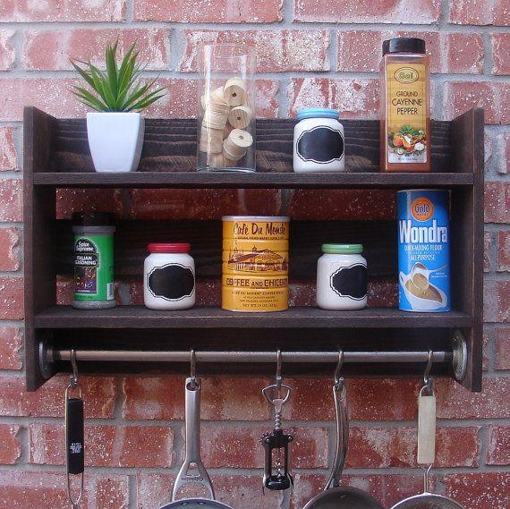 "Modern Rustic 2-Tier Spice Rack Shelf W/ 30"" Pot Rack Bar"