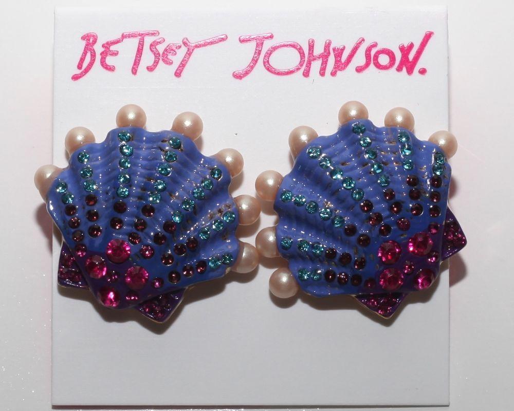 NEW BETSEY JOHNSON LARGE MERMAID SHELL PEARL STUDDED MULTI POST BACK EARRINGS #BetseyJohnson #Cluster