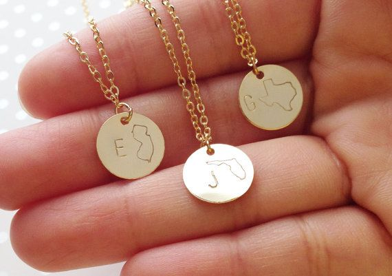 Initial Necklace Personalized State Necklace by MignonandMignon