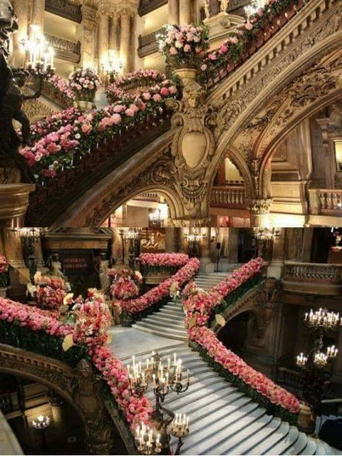 Two pics of the Paris Garnier Opera stairs decorated with flowers