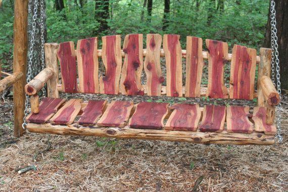 5 Live Edge Cedar Porch Swing Log Porch Swing By Povertygulch Cedar Wood Projects Rustic Patio Furniture Cedar Furniture