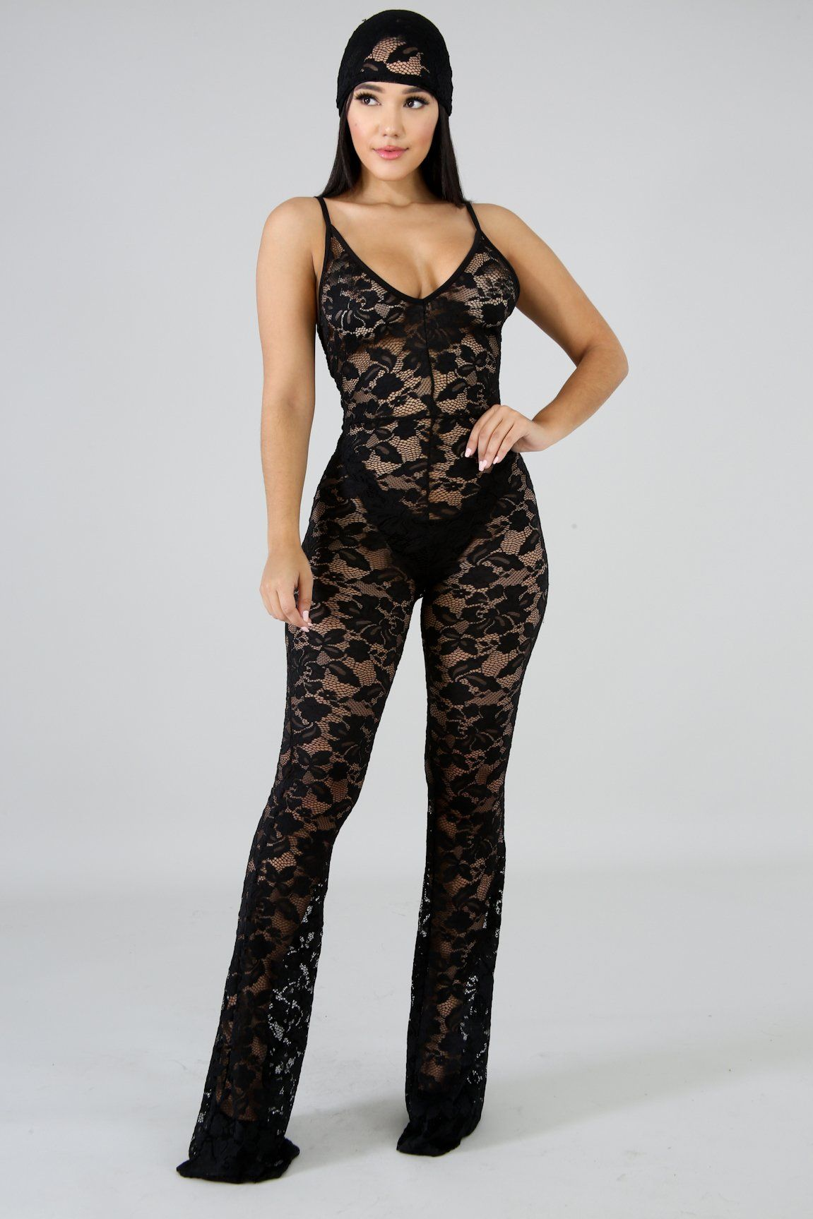 18be8d0b2ae9 Lacing Sheer Jumpsuit – GitiOnline