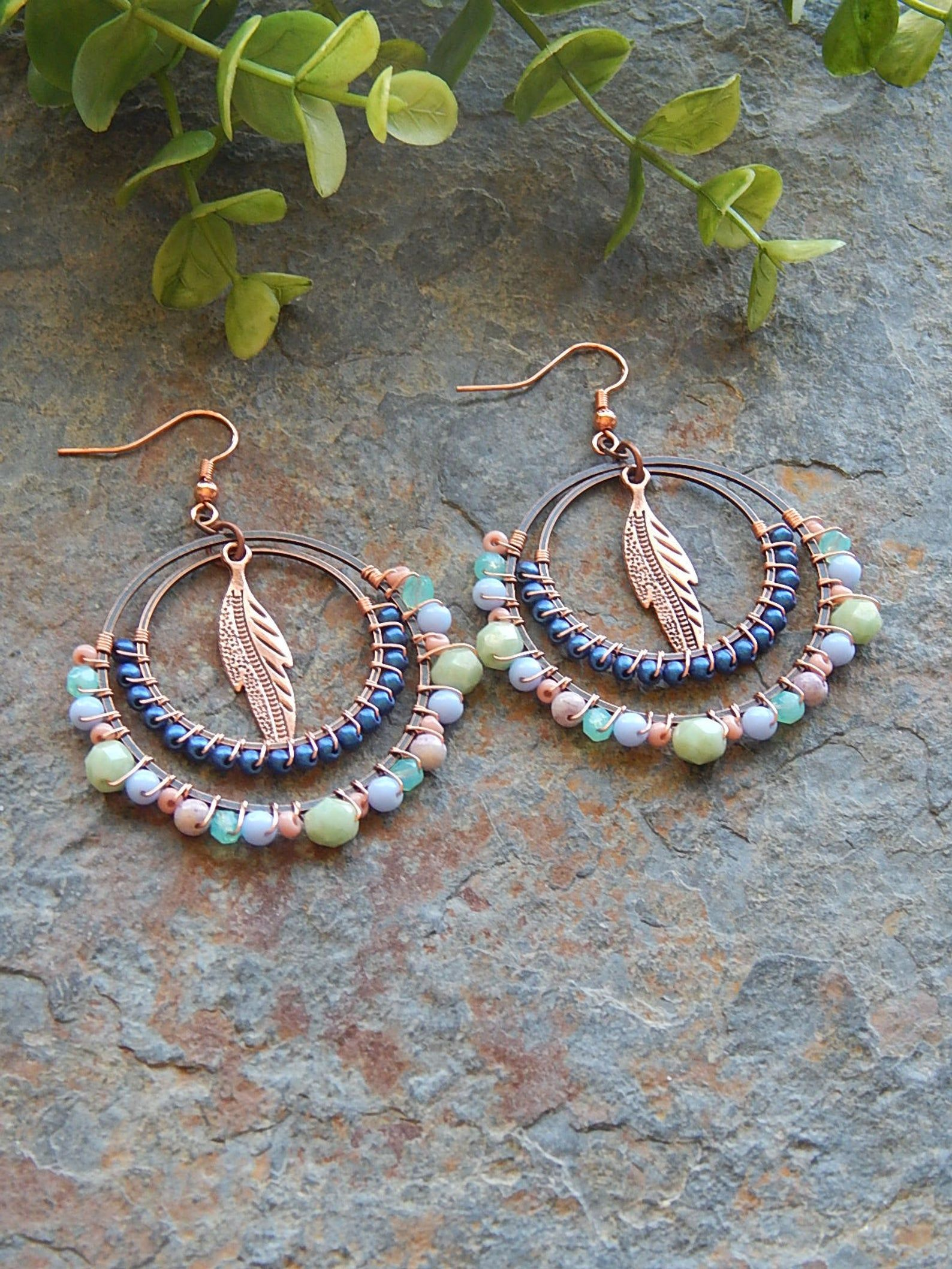 Photo of Beaded Hoop earrings  wire wrapped hoops  blue and copper | Etsy