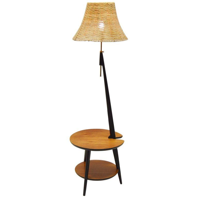 1960 S Teak Floor Lamp With Integrated Side Table From A Unique