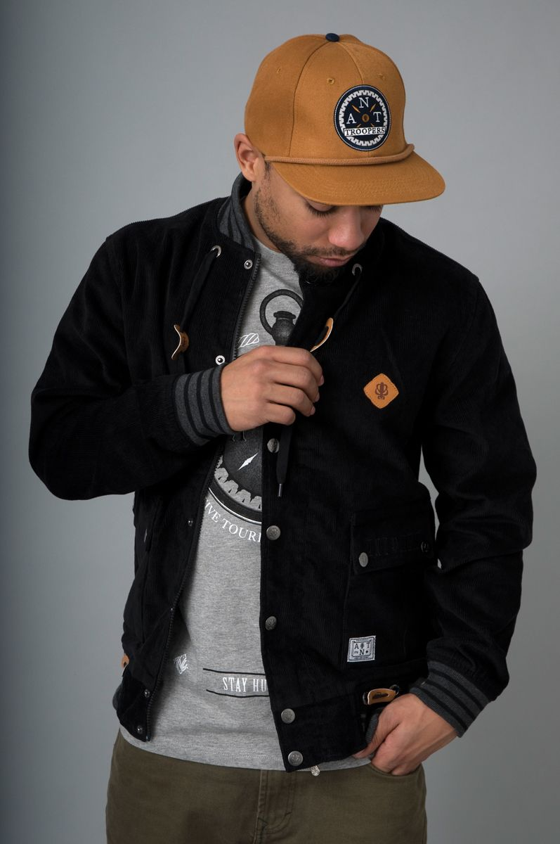 SS2012 collection:    Ant Origins Corduroy varsity jack.  leather details, zipper closed pockets.    compass strapback cap.