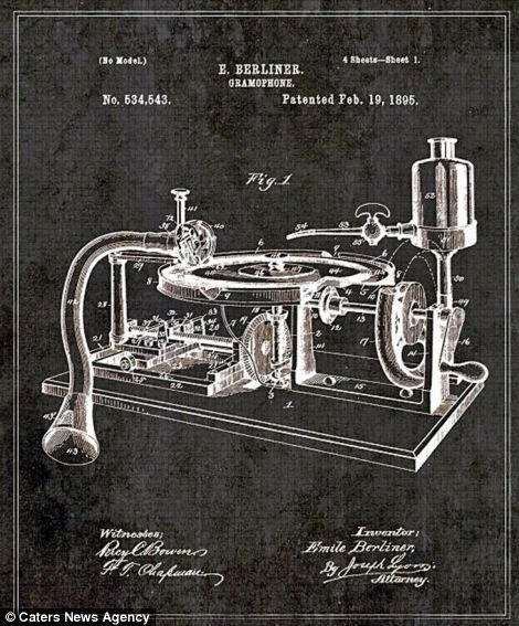 Blueprints show inner workings of some famous inventions patent was an early record label the first company to produce disc gramophone records patent patentdrawing illustration gramophone music invention malvernweather Choice Image