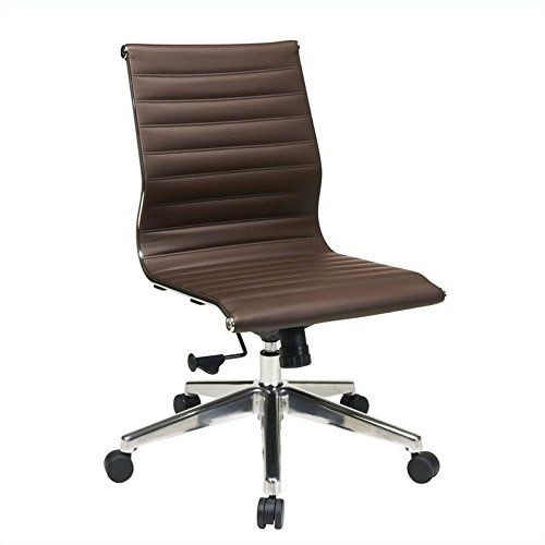 Osp Furniture Armless Mid Back Eco Leather Chair Chocolate Office Star Featuring