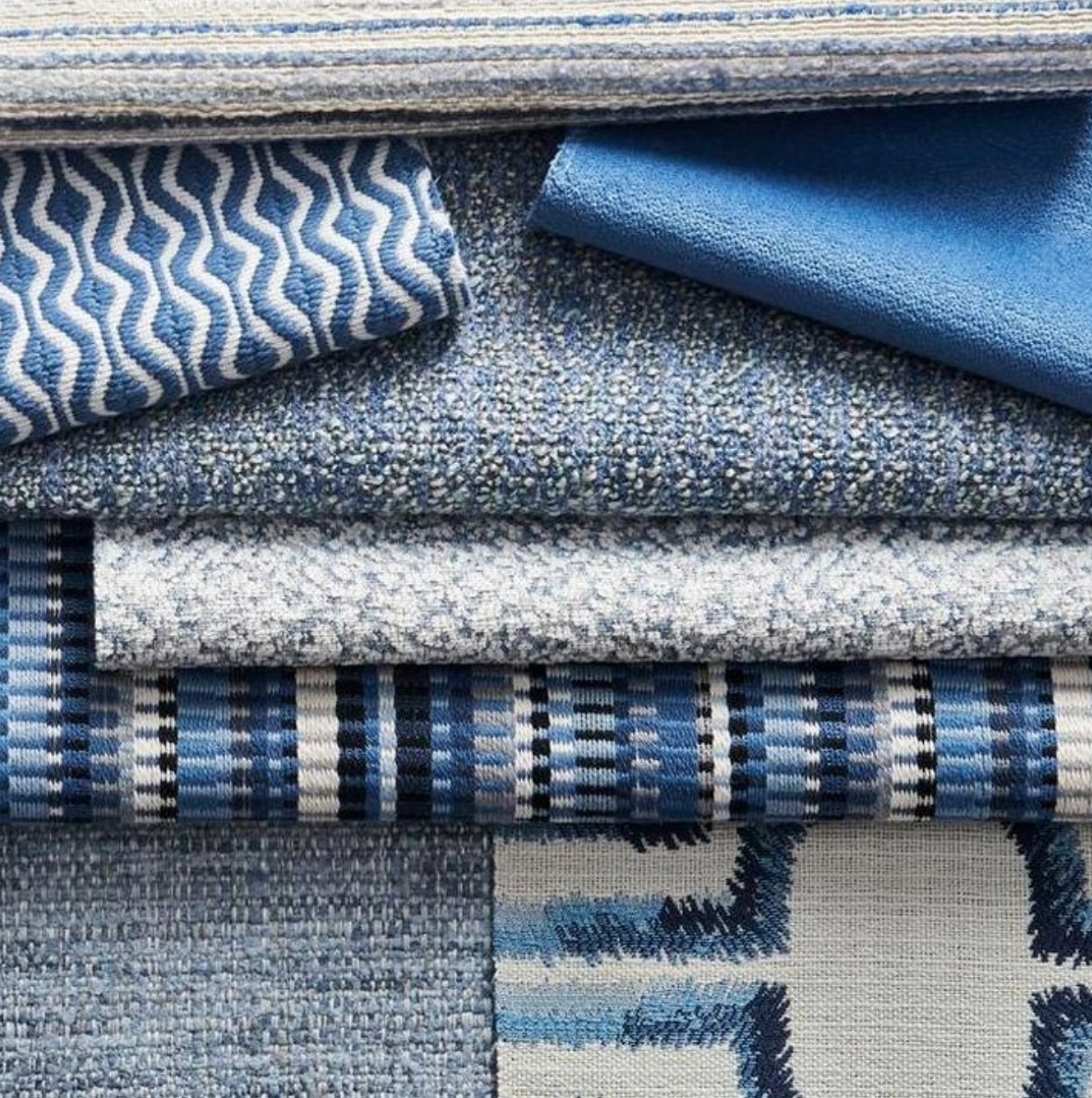 Classic Blue. Not only it's our color of the year but it is also associated with calmness, contentment, peace, and harmony. How will you incorporate this gorgeous color in your home? 💙#decowindowfashions #pantoneclassicblue  . . . #classicblue #fabricut #interiordesign #moodboard #interiordesigninspo #beautifulblues #relaxingblues #calmingcolors