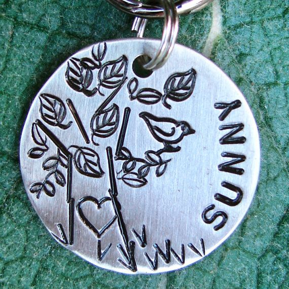 Bird in a Tree Hand Stamped Pet Tag by TagMePetTags on Etsy, $12.00  I am getting this for the next dog. <3