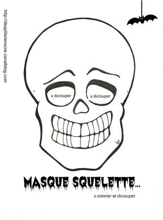masque squelette colorier - Masque Colorier