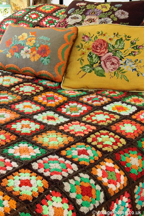 Vintage Home Shop - Colourful and Cosy Autumn Patchwork Crochet Throw: www.vintage-home.co.uk