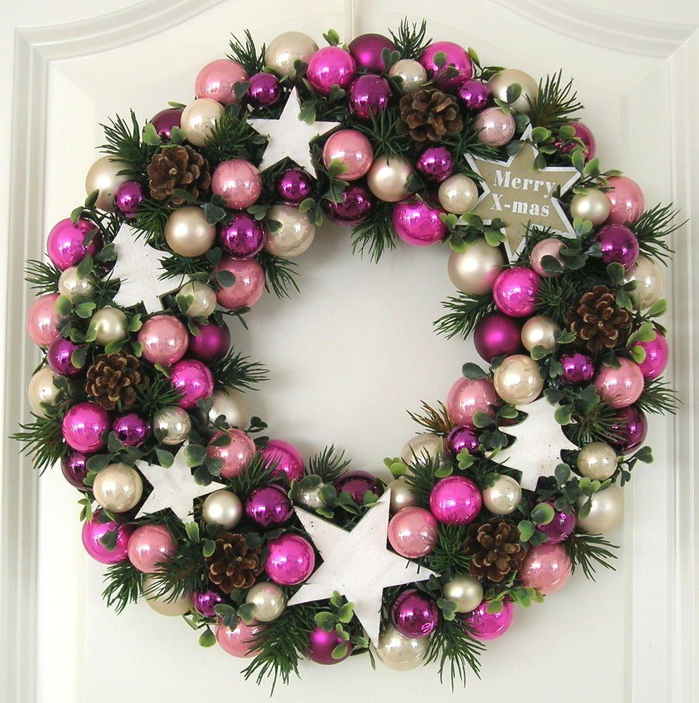 t rkranz weihnachten rosa wei lila 33cm kugelkranz kranz. Black Bedroom Furniture Sets. Home Design Ideas