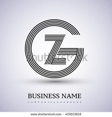 Letter GZ or ZG linked logo design circle G shape. Elegant black colored letter symbol. Vector logo design template elements for company identity. - stock vector