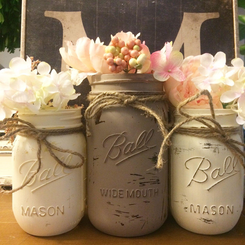 Mason Jar Home Decor Painted Mason Jars  Distressed Jars  Shower Centerpieces