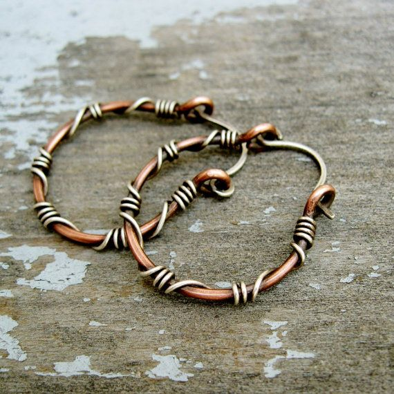Sterling Silver wrapped copper hoops copper by BearRunOriginals | My ...