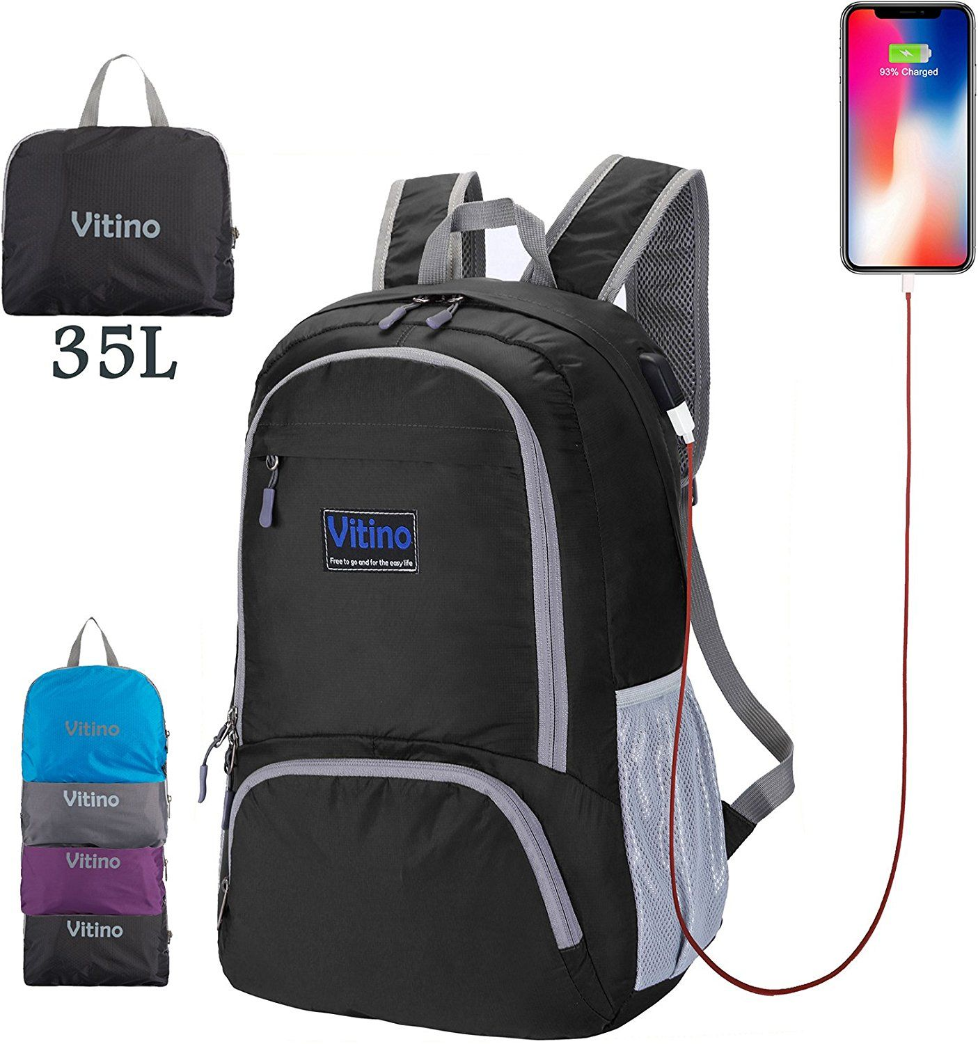 73aa2a972d67 Backpack With USB Charging Port - Vitino Water Resistant Lightweight ...