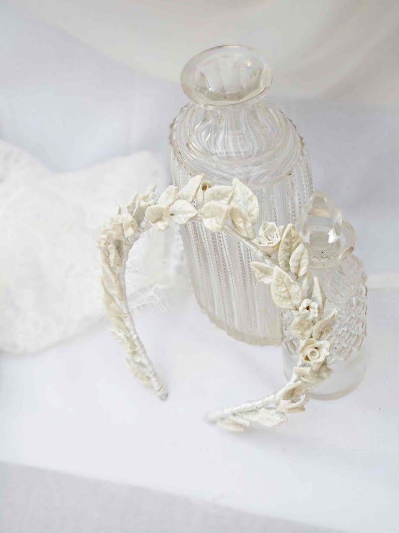 leaf crown, Vintage inspired crown, wedding head piece, White bridal tiara, Floral head piece, Artdeco wedding, #119