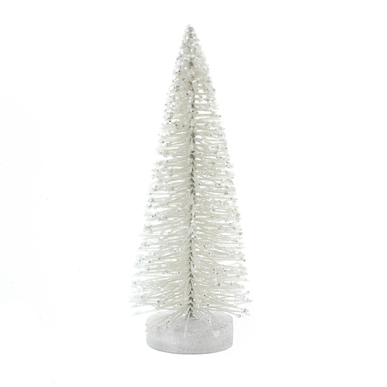 Sisal Christmas Trees White Bottle Brush Tree With Glitter 3 X 8 Inches White Christmas Trees Bottle Brush Trees Bottle Brush Christmas Trees