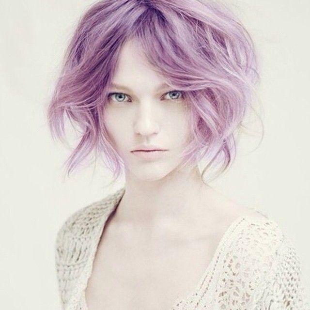 purple hair, short