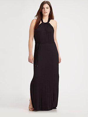 Tahari Woman, Salon Z Corey Halter Maxi Dress Saks 5th ...