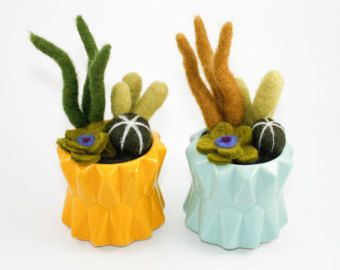 Felted Cactus Garden White Glazed Pot Extra Large by OnceAgainSam