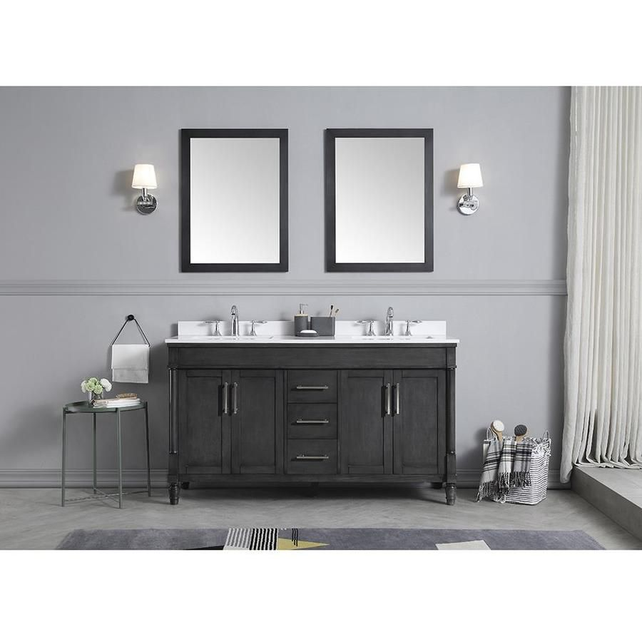 Ove Decors Layla 60 In Iron Gray Double Sink Bathroom Vanity With Yves Cultured Marble Top 15vva Layl60 092 In 2020 Double Sink Bathroom Bathroom Vanity Designs Bathroom Sink Vanity