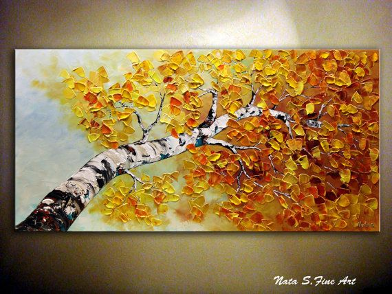 Birch Tree Painting Large Abstract Art Aspen Tree Painting