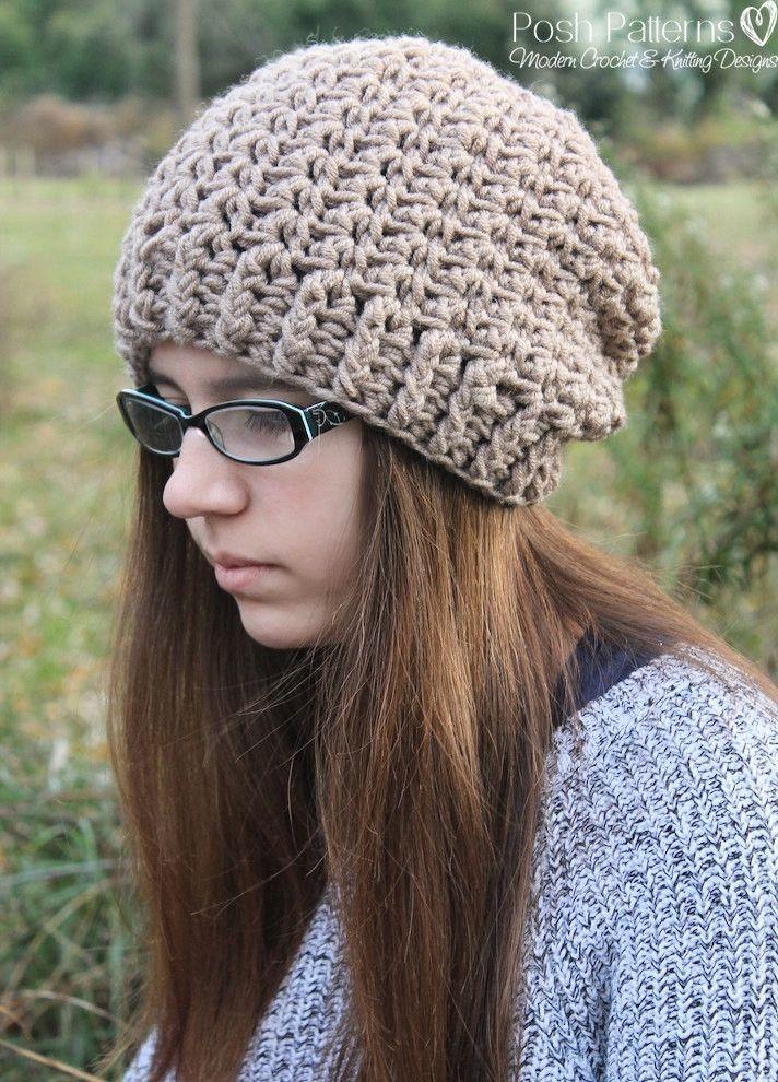 Crochet PATTERN - Elegant Crochet Slouchy Hat Pattern   Gorros ...