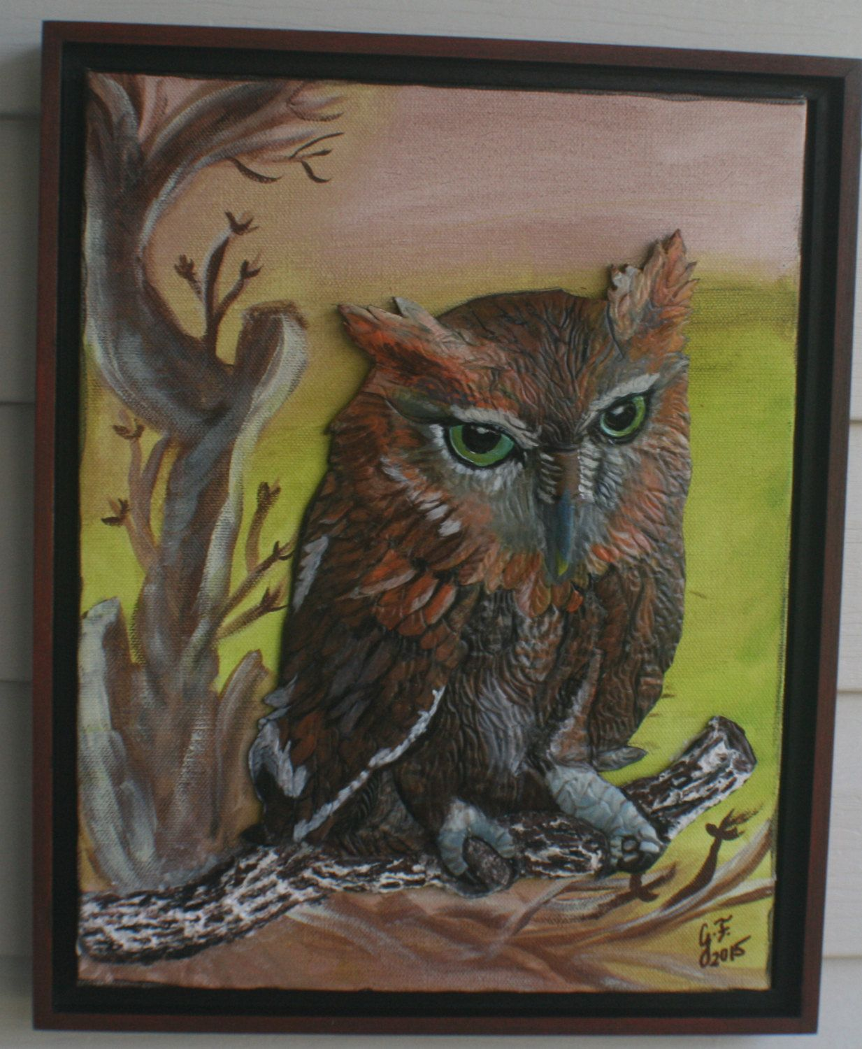 Screech Owl, Framed Stretched Canvas LEATHER SCULPTURE 3D Art, Wall ...